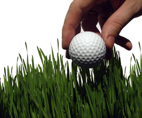 playing a golf in high grass (rough)