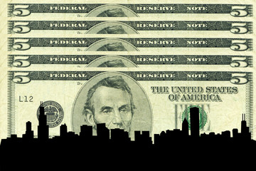 chicago skyline against five dollar bill