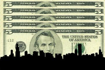 chicago skyline against five dollar bill