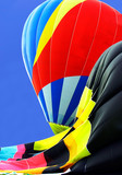 partially inflated hot air balloons poster