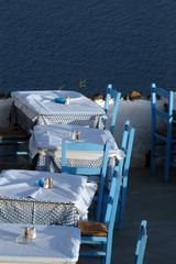 restaurant setting oia town santorini greece