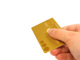 hand holding credit card (clipping path included) poster