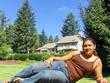 teenager in backyard