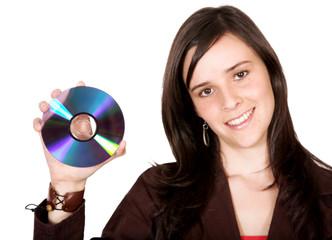 beautiful girl holding a cd