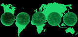 world map & globe - greenish blue