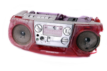 smashed ghetto blaster