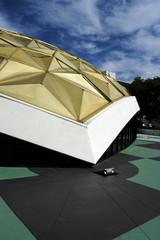 sixties civic building roof corner