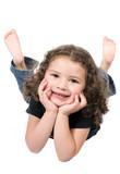 cute little girl on the floor poster