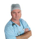 concerned doctor in scrubs poster