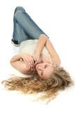 glamorous blond on floor poster
