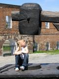 girl under large hammer poster