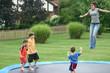 family on trampoline