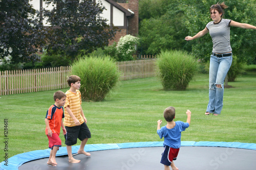 family on trampoline
