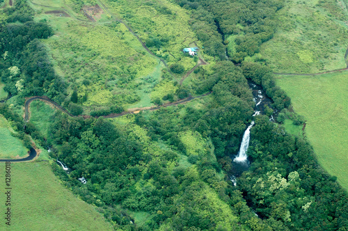 big island aerial shot - waterfalls