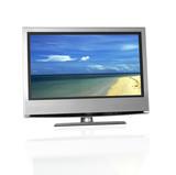 tropical beach on flat screen tv poster