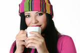 woman drinking from mug poster