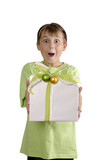 excited boy holding a wrapped present poster