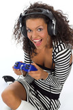 beautiful curly brunette girl playing game console poster