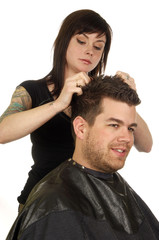 hair styling at beauty salon