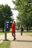 woman pay phone poster