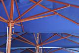 blue color coffee shop umbrellas poster