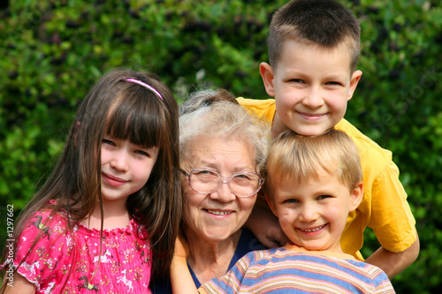 children with grandma