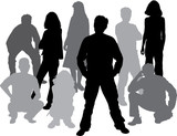 silhouettes friends (man and women) poster