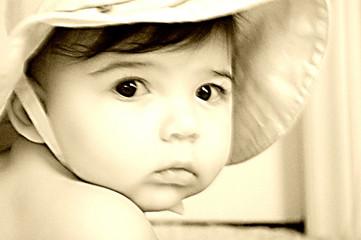 sepia baby face