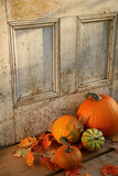 halloween pumpkins and leaves poster