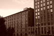 old building in copley square boston sepia