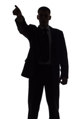 silhouette of pointing man