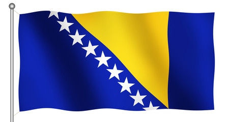 flag of bosnia herzegovina waving