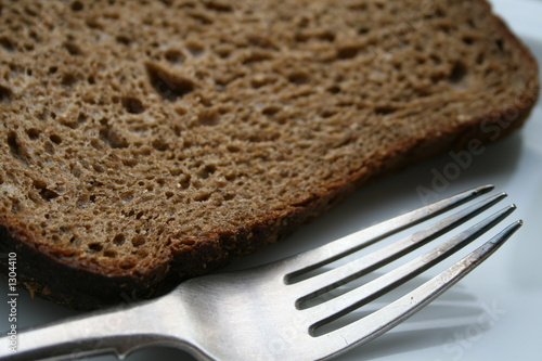 russian rye bread and a silver fork
