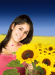 beautiful girl in sunflower field