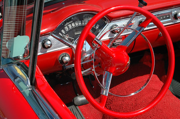 vintage car dash board and wheel
