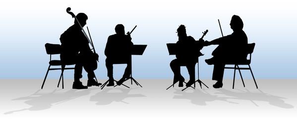silhouette of quartet in blue