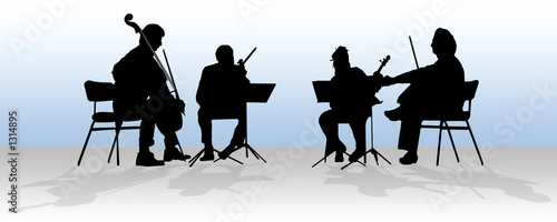 silhouette of quartet in blue
