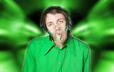 homme avec masque a oxygène poster