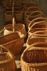line of baskets