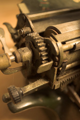 detail of antique typewriter carriage