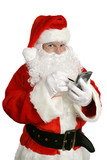 santa clause with personal computer poster