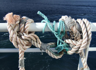 ropes on a passenger ship
