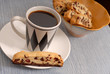 chocolate chip and cranberry biscotti with coffee