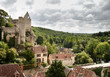 french village and ruined castle