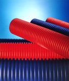 blue and red plastic pipes poster