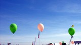 balloons & flags in sky.celebration.show.event poster