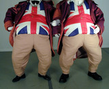 two obese people wearing union jack waistcoats poster