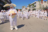 people dressed as rabbits on a street festival (shallow depth of