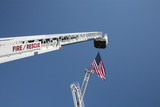 usa flag and fire truck ladders poster