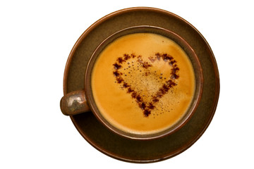cup of coffee with chocolate heart isolated on whi